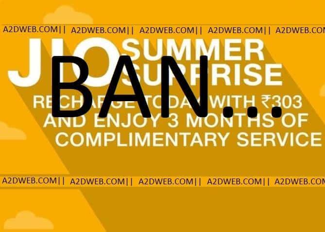 JIO SUMMER SURPRISE OFFER BAN